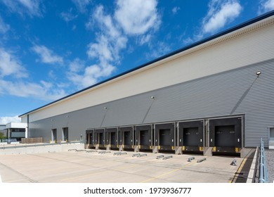 Loading bay docks of a large distribution warehouse