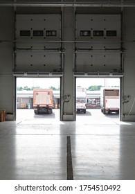 Loading Cargo Doors in Distribution Warehouse