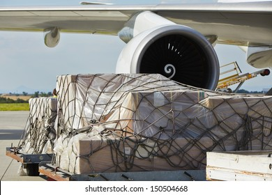 Loading of cargo to the freight aircraft.
