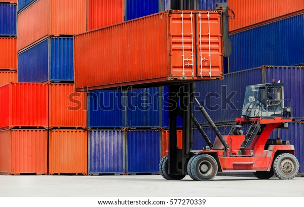 Loading Containers box, Container Cargo freight ship for Logistic, Import Export