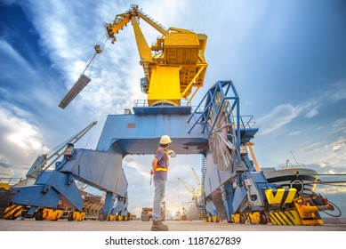 the loading and discharging in port of ship takes control by loading master, stevedore and foreman, working in port terminal being for logistics and transport services to worldwide.
