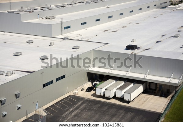 Loading docks in the industrial area - aerial photo