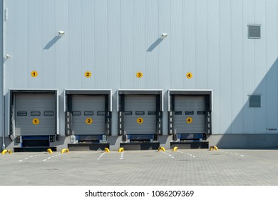 Loading docks with shutter doors at a warehouse