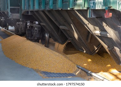 Loading grain from a hapra wagon at a pre-loading station