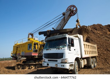 the loading machine in the quarry