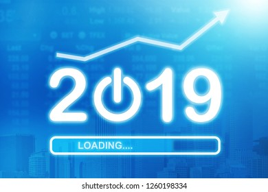 Loading New Year 2019. Growth in 2019 year concept. Business graph with arrow up