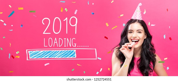 Loading new year 2019 with young woman with party theme on a pink background
