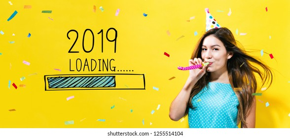 Loading new year 2019 with young woman with party theme on a yellow background