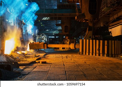 Loading of ore in the open-hearth furnace at a metallurgical plant