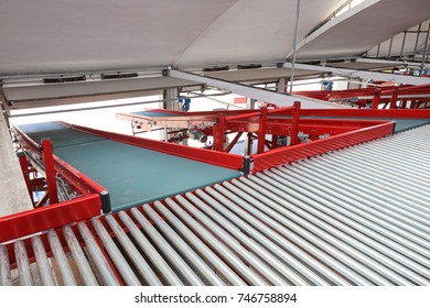 Loading Ramp With Conveyor Belt in Distribution Warehouse