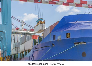 Loading of the refrigerated container from the berth onto the ship using a sts crane. Spreader refrigerated container
