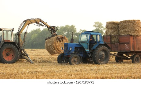 Loading round hay bales in a tracktor. Farmer with a tractor loading a trailer with straw bales.