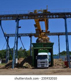 Loading of sugar cane on modern truck