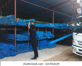 Loading water PVC(Polyvinyl chloride) pipes