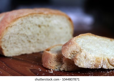 Loaf of artisan bread close up low angle