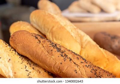 Loaf of bread in bakery.