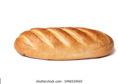 Loaf of bread isolated on white background. Whole bread.Horizontal frame.Studio.