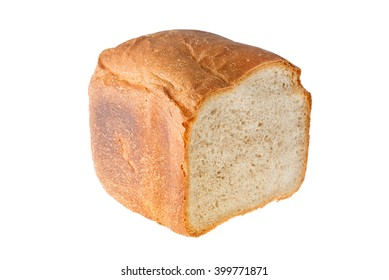 Loaf of bread on the cut closeup isolated on white background
