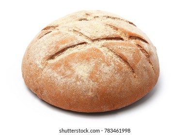 loaf of bread of round shape with a pattern on a white background