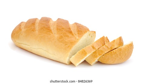 Loaf of bread with slices isolated on white background