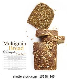 Loaf of fresh sliced multigrain gluten free bread, isolated on white