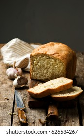 the loaf of garlic bread baked in the bread machine. style rustic.selective focus