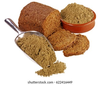 LOAF OF HEMP BREAD WITH HEMP FLOUR IN BOWL AND SCOOP,ON WHITE