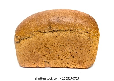 loaf of rye bread on a white background