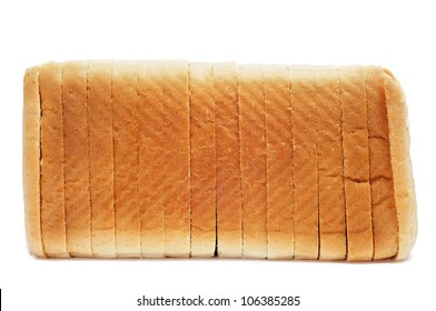 a loaf of sliced bread on a white background