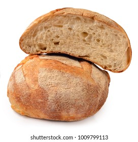 Loaf of whole graine bread isolated on white background.  Arranged in group