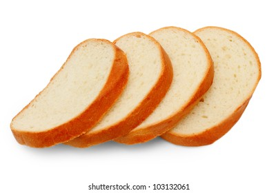 loaf yummy pieces bread isolated on white background