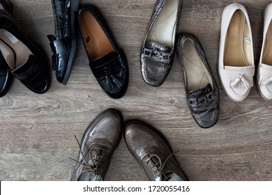 Loafers shoes retro style stand on the wooden floor