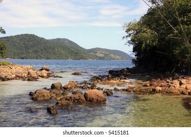 loagoa azul in the beautiful island of ilha grande near rio de janeiro in brazil