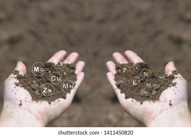 Loamy soil in hands farmer with icons about nutrients and elements in soil that are necessary for plant growth.