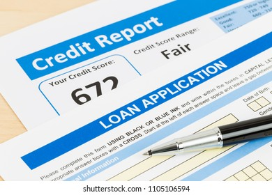 Loan application form fair credit score with pen