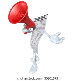Loan Application With Megaphone