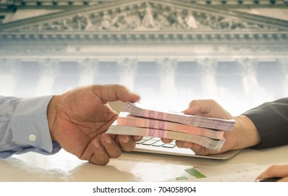 loan approved finance and banking concept. Lender give money borrow with borrower.