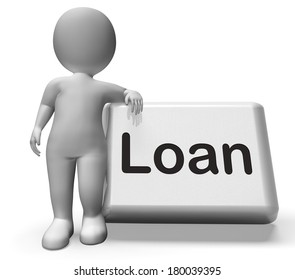 Loan Button With Character Meaning Lending Or Providing Advance