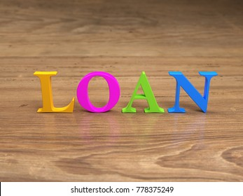 Loan text Concept - 3D Rendered Image