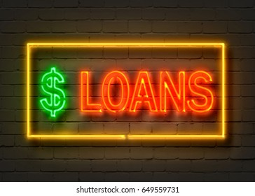 Loans, neon sign on brick wall background. 3D illustration.