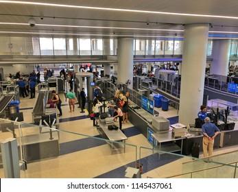 LOAS ANGELES, CA, USA - JUN 24, 2018: TSA Security Check point.