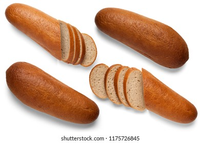 Loaves of buckwheat bread on white background. View from above
