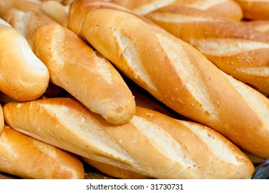 Loaves of French baguettes found along Vietnam streetside stalls.