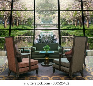 Lobby area of a hotel which can see row of Pink Trumpet Tree in the park with lake