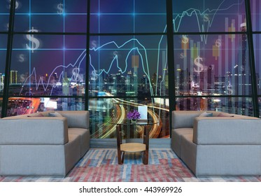 Lobby area of a hotel which can see Trading graph on the cityscape at night background,lobby sofa from dicut and retouch each elements, Business financial concept