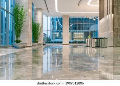 lobby hallway in modern office building interior.
