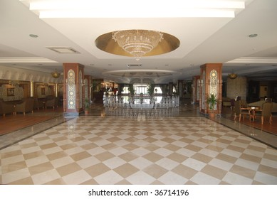 The lobby of the luxury hotel.