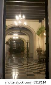 lobby of old luxury hotel viejo san juan, puerto rico