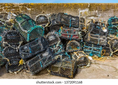Lobster baskets at the harbor