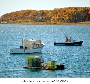 Lobster boats and basket traps in Maine, New England, USA